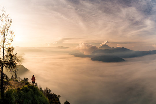 A young woman standing on the edge of a giant cliff, overlooking Mount Bromo and the Tengger Crater