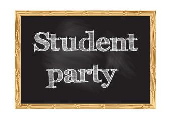 Student party blackboard notice Vector illustration for design