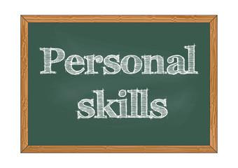 Personal skills chalkboard notice Vector illustration for design
