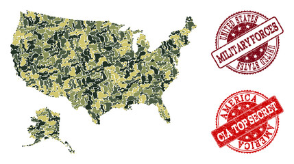 Military camouflage combination of map of USA and Alaska and red rubber seals. Vector top secret and armed forces watermarks with unclean rubber texture. Army flat design for military purposes.