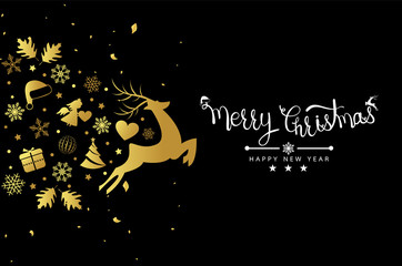 Merry Christmas background with snowflakes on dark background. Vector illustration