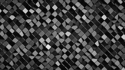 Black rotated rhomb shapes 3D render