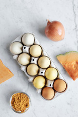 Eggs colored with natural ingredients
