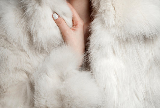 white fur coat closeup