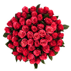 Fresh, lush bouquet of red roses isolated on white