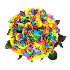 Fresh lush bouquet from iridescent, rainbow roses, multi-colored roses, isolated on white