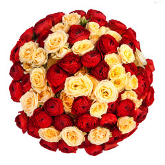 Bouquet of mix red and yellow fresh roses isolated on white