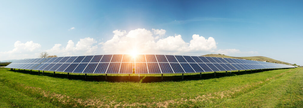 Panoramic view of solar panels, photovoltaics - alternative electricity source