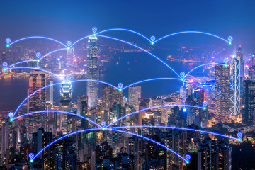 Smart city communication network and internet of things for smart city and big data concept.