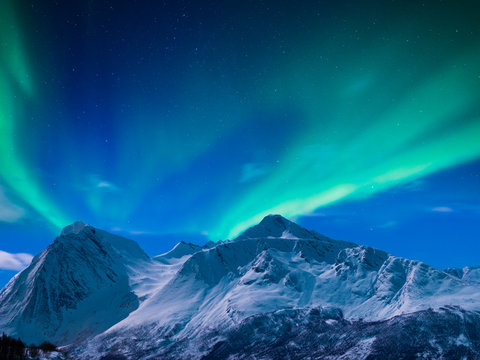 Northern lights on a Norwegian fjord