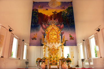 Interior ubosot and buddha statue of beautiful thai temple in Rayong, Thailand