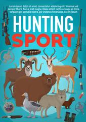 Hunting sport equipment and wild animals