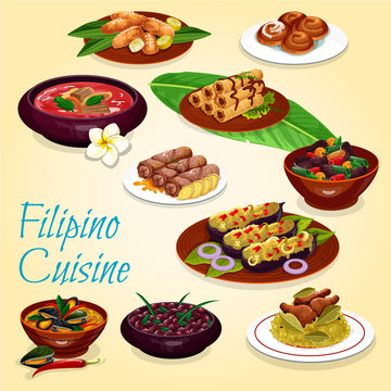 Filipino national cuisine, dishes and desserts
