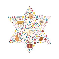 Hanukkah holiday flat design icons set in star of david shape