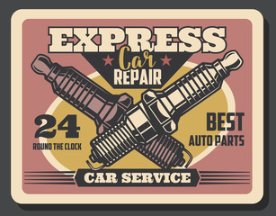 Spark plug replacement vector retro banner
