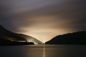 Thirlmere Reservoir at night. Cumbria, UK.