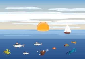 Ocean landscape, sea animals underwater, vector illustration