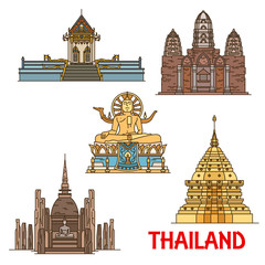 Thai travel landmarks. Ancient temples, pagodas