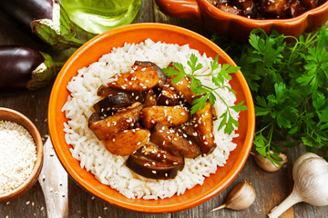 Chicken with eggplants and rice