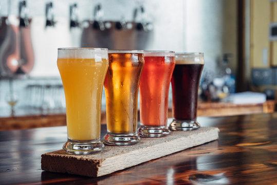 Flight of artizanal beer glasses