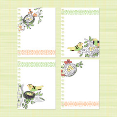 Template. Postcard nest and bird. Set. Background, texture, banner, invitation. Sketch.