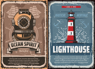 Nautical lighthouse and vintage diver helmet