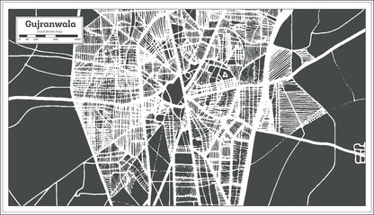 Gujranwala Pakistan City Map in Retro Style. Outline Map.
