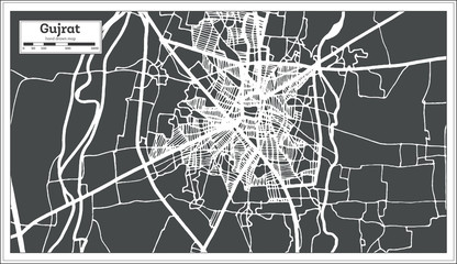 Gujrat Pakistan City Map in Retro Style. Outline Map.