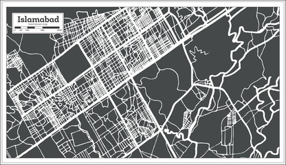 Islamabad Pakistan City Map in Retro Style. Outline Map.