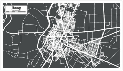 Jhang Pakistan City Map in Retro Style. Outline Map.