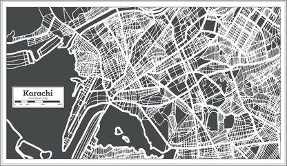 Karachi Pakistan City Map in Retro Style. Outline Map.
