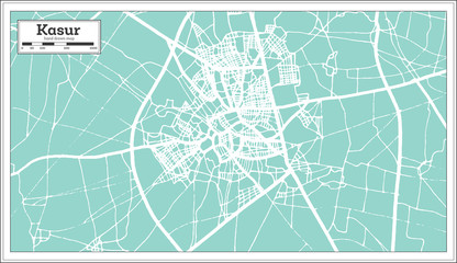 Kasur Pakistan City Map in Retro Style. Outline Map.