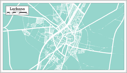 Larkana Pakistan City Map in Retro Style. Outline Map.