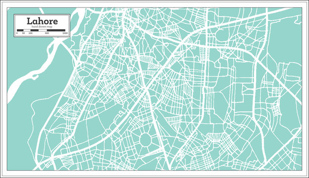Lahore Pakistan City Map in Retro Style. Outline Map.