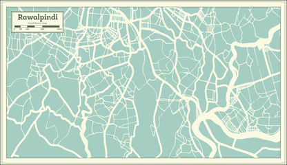 Rawalpindi Pakistan City Map in Retro Style. Outline Map.