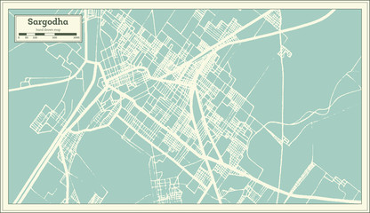 Sargodha Pakistan City Map in Retro Style. Outline Map.