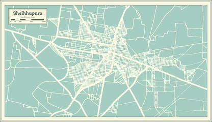 Sheikhupura Pakistan City Map in Retro Style. Outline Map.
