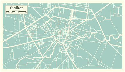 Sialkot Pakistan City Map in Retro Style. Outline Map.