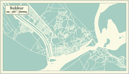 Sukkur Pakistan City Map in Retro Style. Outline Map.