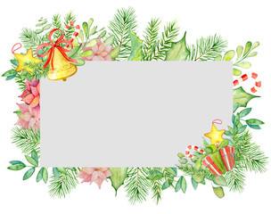 Merry Christmas watercolor frame with floral winter elements. Happy New Year card, posters.