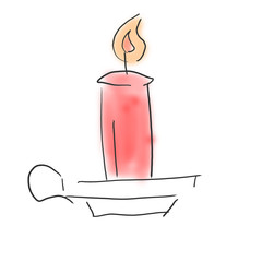 キャンドル、クリスマスイメージ落書き風ふんわりイラスト