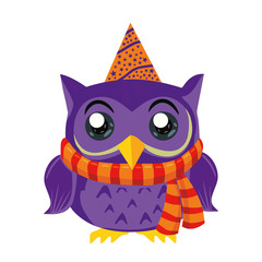 Violet Owl with scarf and cap magic stars, Abstract Background, Cartoon Character Isolated on White Vector Illustration EPS 10