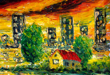 Old village yellow house, green trees - oil painting and palette knife - a fragment of painting