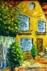 Beautiful rural landscape. Nature, yellow old village, house, trees, night. Palette knife Painting with oil. Art.