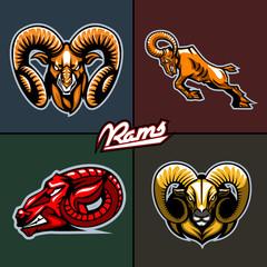 Different ram heads. Cartoon style.