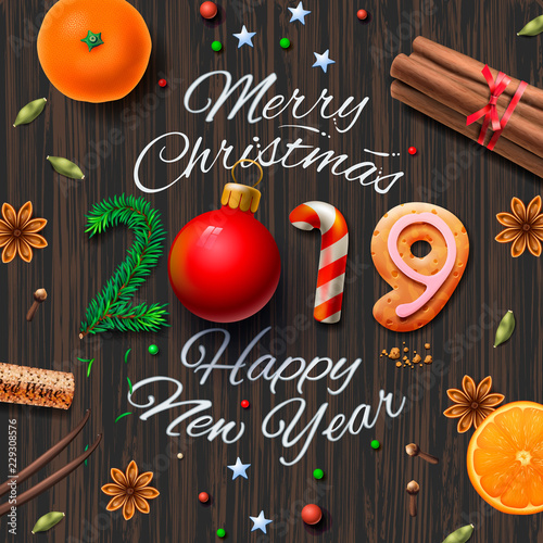 Merry Christmas, Happy New Year 2019, vintage background With ...