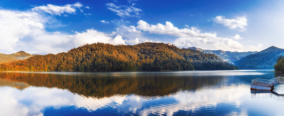 Panoramic view to highland lake Goygol in Azerbaijan Republic