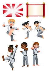 Karate Taekwondo Kids Illustration