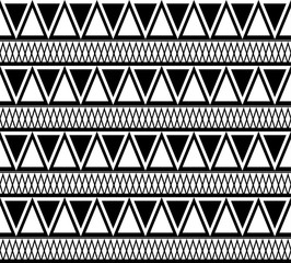 Black and white ethnic pattern of triangles. Vector boho texture for fabrics, wallpapers, backgrounds and your creativity.