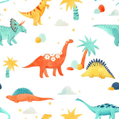 Watercolor dinosaur baby vector pattern